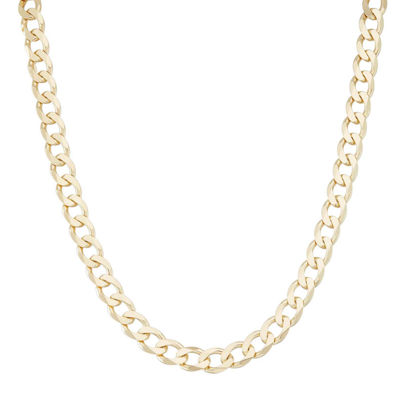 "Mens 18K Yellow Gold Over Silver 8.8mm 20"" Curb Chain Necklace"