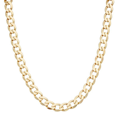 """Mens18K Yellow Gold Over Silver 9.6mm 20"""" Curb Chain Necklace"""