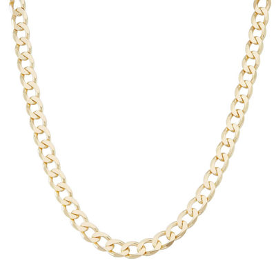 "Mens 18K Yellow Gold Over Silver 8.8mm 24"" Curb Chain Necklace"