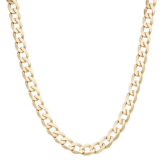 men cuban solid necklace yellow gold curb s ip chain