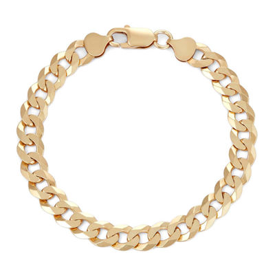 "Mens 18K Yellow Gold Over Silver 8"", 8.4mm Curb Chain Bracelet"