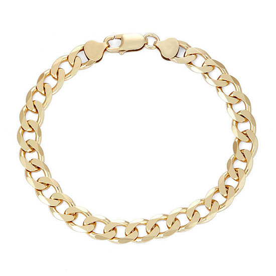 "Mens 18K Yellow Gold Over Silver 9"", 8.8mm Curb Chain Bracelet"