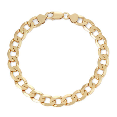 """Mens 18K Yellow Gold Over Silver 9"""", 9.7mm Curb Chain Bracelet"""