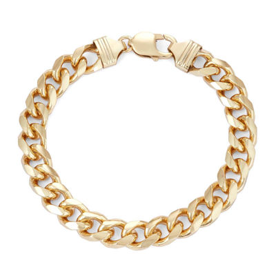"Mens 18K Yellow Gold Over Silver 9"", 9.7mm Curb Chain Bracelet"