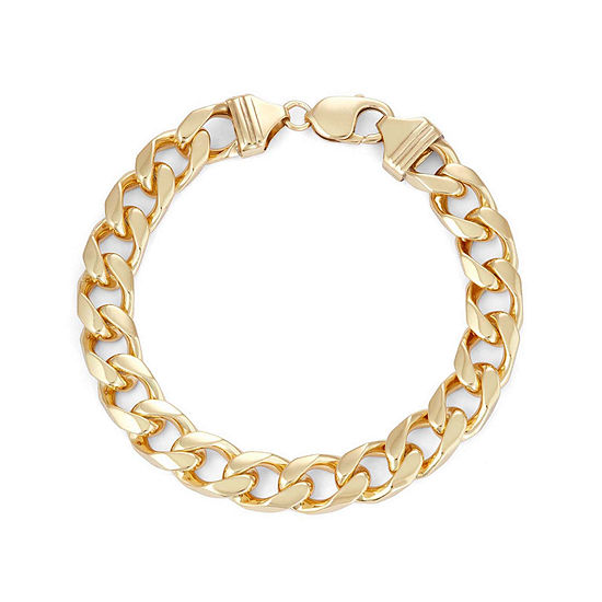 """Mens 18K Yellow Gold Over Silver 9"""", 11mm Curb Chain Bracelet"""