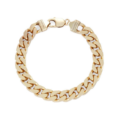 "Mens 18K Yellow Gold Over Silver 9"", 9.8mm Curb Chain Bracelet"