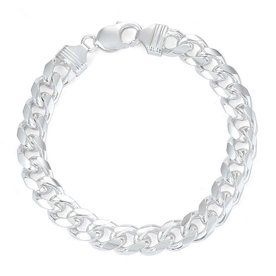 """Mens 9"""" Sterling Silver Curb Chain Bracelet"""