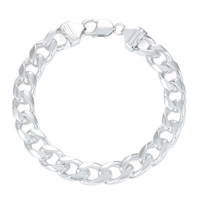 "Mens 9"" Sterling Silver Curb Chain Bracelet"