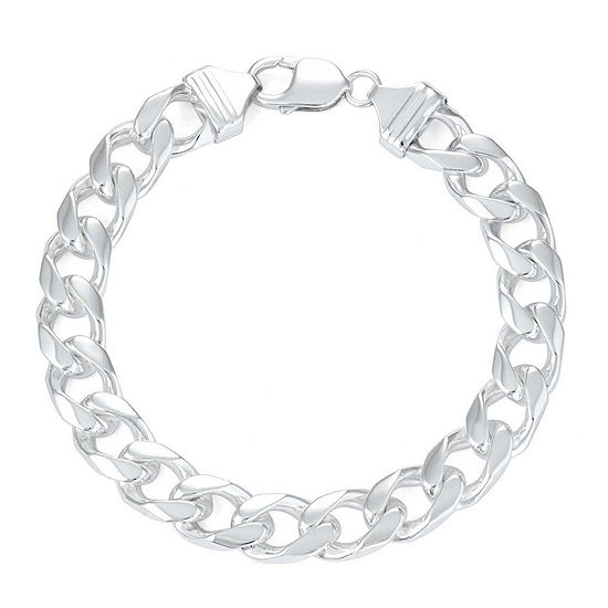 Mens 9 Sterling Silver Curb Chain Bracelet