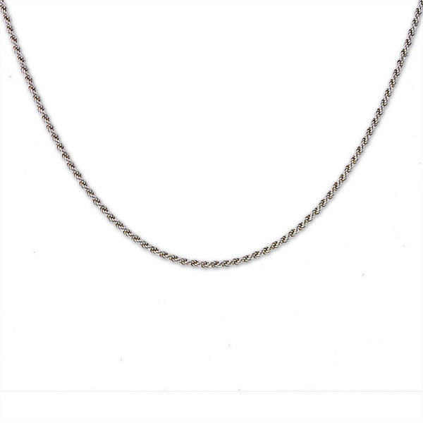 "Mens 30"" Sterling Silver Rope Chain Necklace"