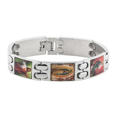 Mens Stainless Steel Religious Bracelet
