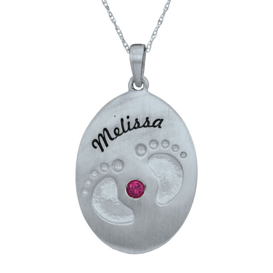 Personalized Simulated Birthstone Engraved Baby Feet Pendant Necklace