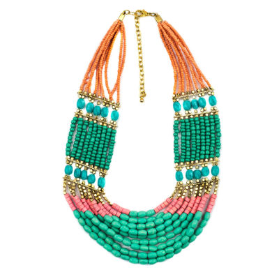 Decree® Multicolor Bead Gold-Tone Statement Necklace