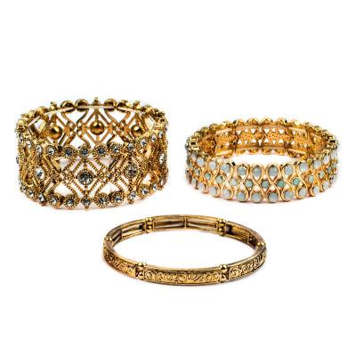 Decree® Textured Metals 3-pc. Stretch Bracelet Set