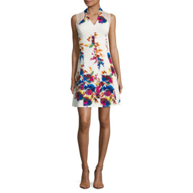 Spense Sleeveless Floral Fit & Flare Dress
