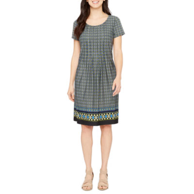 Perceptions Short Sleeve Bordered Shift Dress