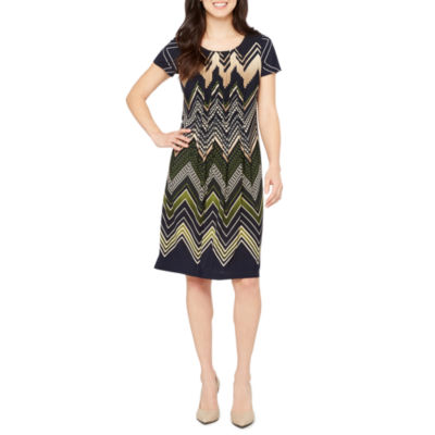 Perceptions Short Sleeve Chevron Shift Dress