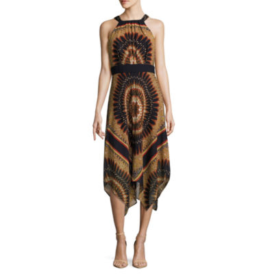 Studio 1 Sleeveless Asymmetric Hem Fit & Flare Dress-Petites