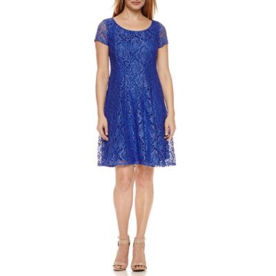 Perceptions Short Sleeve Lace Shift Dress-Petites