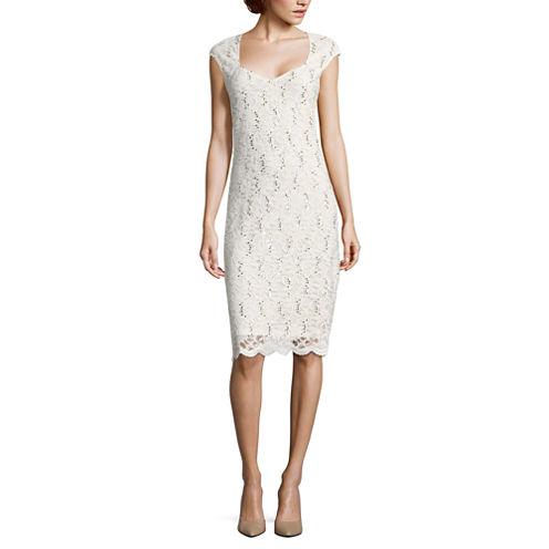 Tiana B Short Sleeve Sheath Dress-Talls