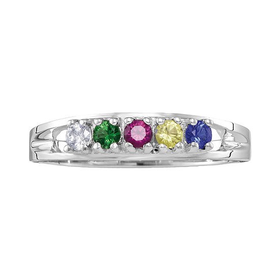 Personalized Sterling Silver Simulated  Birthstone Family Ring