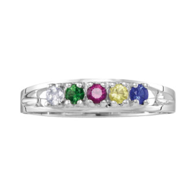 Personalized Sterling Silver Genuine  Birthstone Family Ring