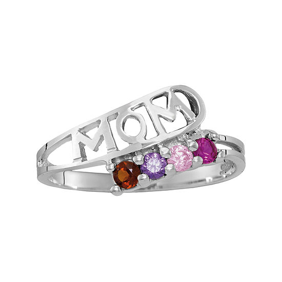 Personalized Sterling Silver Simulated  Birthstone Mom Ring