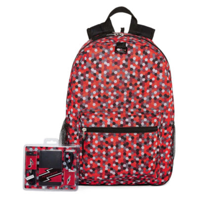 Red Digi Print Back Pack with Power Bank