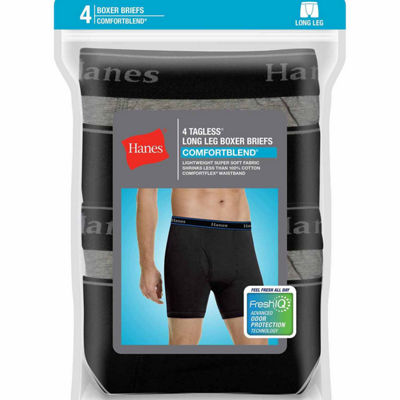 Hanes Men's ComfortBlend® FreshIQ™ ComfortFlex® Waistband Long Leg Boxer Brief 4-Pack