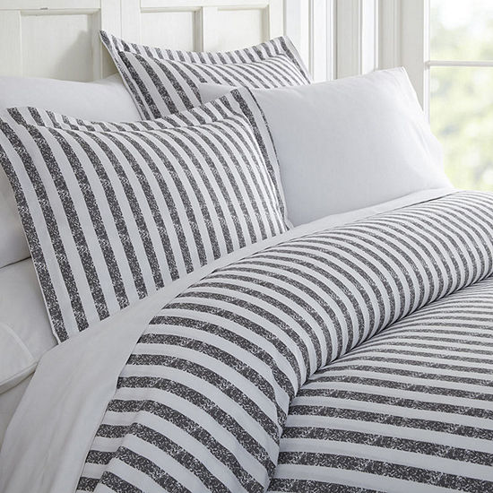 Casual Comfort Premium Ultra Soft Puffed Rugged Stripes Duvet Cover Set
