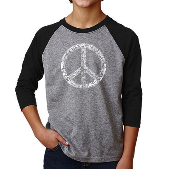 Los Angeles Pop Art Boy's Raglan Baseball Word Art T-shirt - THE WORD PEACE IN 77 LANGUAGES