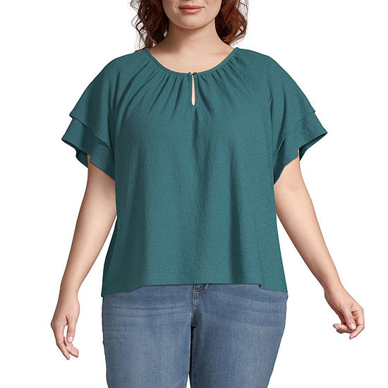 a.n.a-Plus Womens Keyhole Neck Short Sleeve Peasant Top