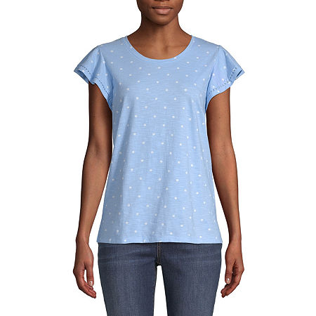 St. John's Bay Womens Crew Neck Short Sleeve T-Shirt, Large , Blue