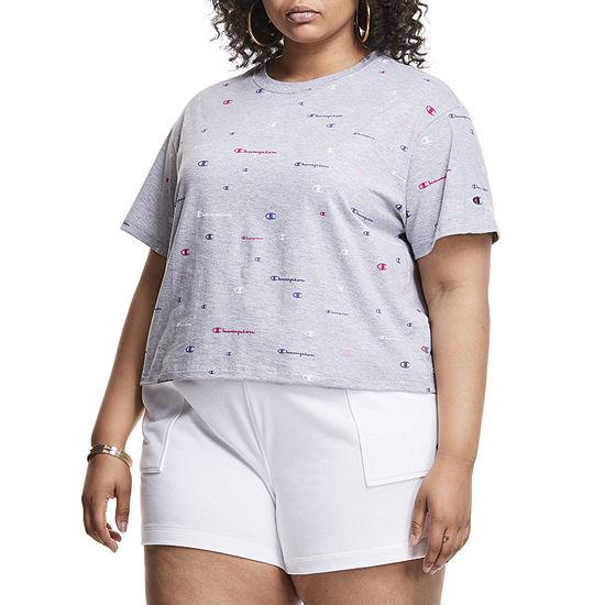 Champion Womens Crew Neck Short Sleeve T-Shirt Plus