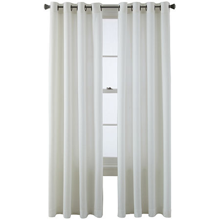 JCPenney Home Arista Light-Filtering Grommet-Top Single Curtain Panel, One Size , White