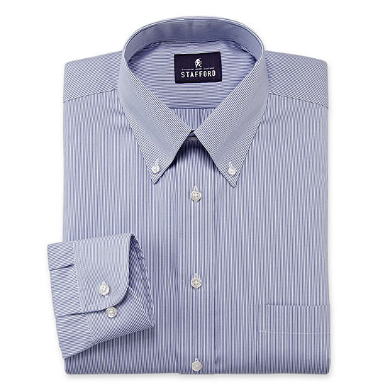 Stafford Mens Wrinkle Free Pintpoint Button Down Collar Oxford Dress Shirt