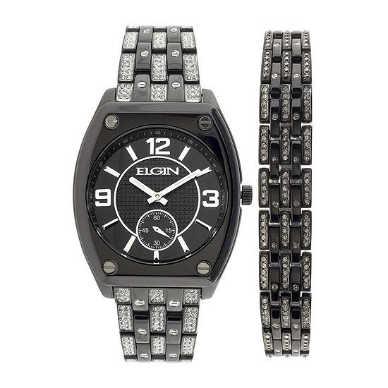 Elgin Mens Crystal-Accent Black Bracelet and Watch Set