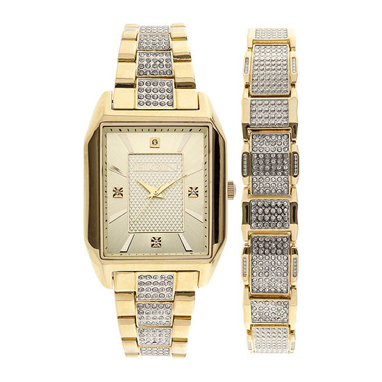Elgin Mens Crystal-Accent Gold-Tone Bracelet and Watch Set