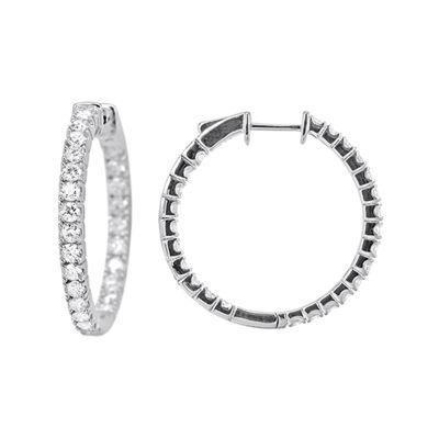 LIMITED QUANTITIES 2 CT. T.W. Diamond 14K White Gold Hoop Earrings