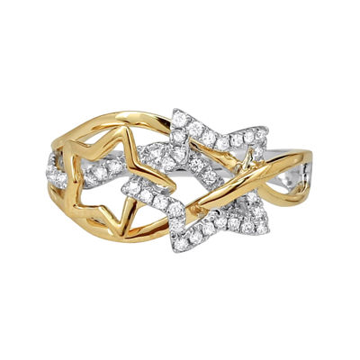 LIMITED QUANTITIES 1/3 CT. T.W. Diamond 14K Two-Tone Gold Star Ring