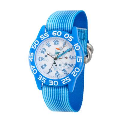 Disney Boys Frozen Olaf Blue Time Teacher Strap Watch