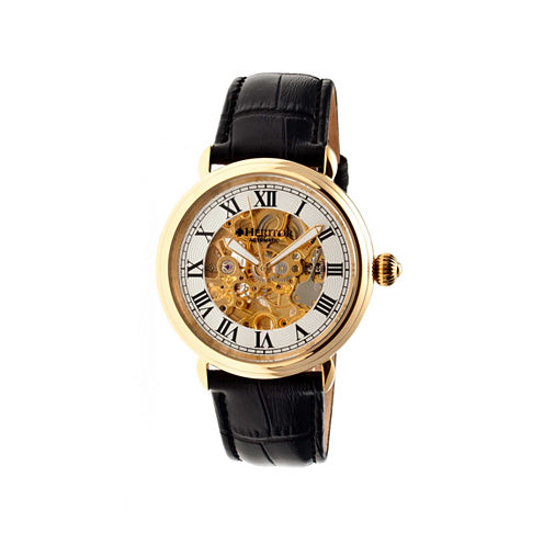 Heritor Automatic Ossibus Mens Skeleton Dial Leather-Band Gold/Silver Tone Watch