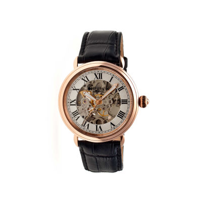 Heritor Automatic Ossibus Mens Skeleton Dial Leather-Band Rose Gold/Silver Tone Watch