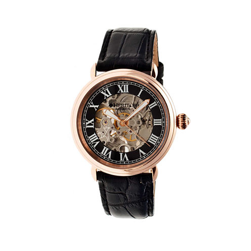 Heritor Automatic Ossibus Mens Skeleton Dial Leather-Band Rose Gold Tone/Black Watch