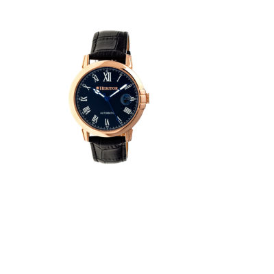 Heritor Automatic Laudrup Mens Leather Magnified Date-Rose Gold/Black Watches