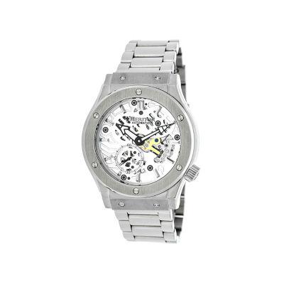 Heritor Automatic Gemini Mens Skeleton Dial Bracelet Silver Tone Watch