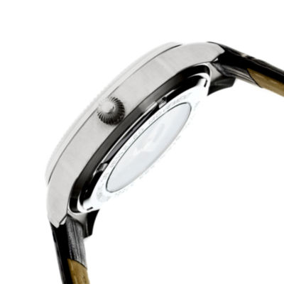 Heritor Automatic Hoyt One-Hand Mens Leather-Silver Tone/Black Watch