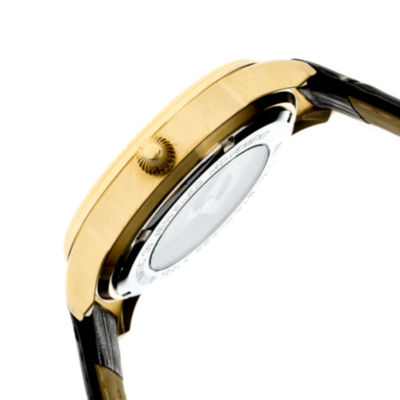 Heritor Automatic Hoyt One-Hand Mens Leather-Gold/Black Watches