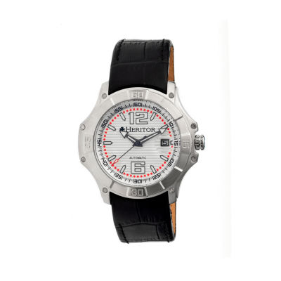 Heritor Automatic Norton Mens Leather Magnified Date-Silver Watches