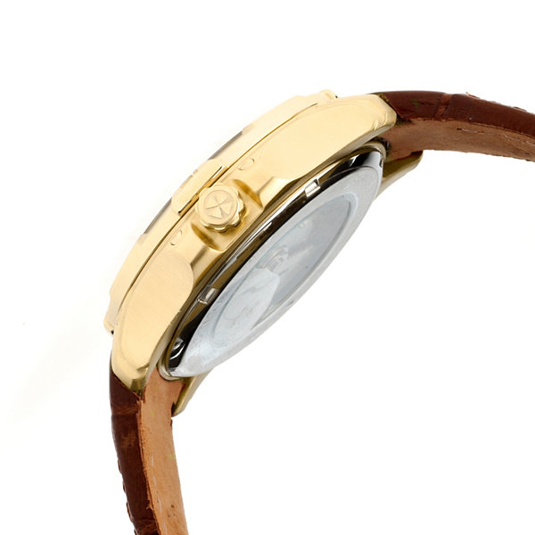 Heritor Automatic Norton Mens Leather Magnified Date-Gold/Brown Watches